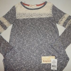 Rewind Size M Lace Trim Long Sleeve Top NWT